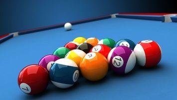 Фото бесплатно бильярд, шары, разноцветные, синий стол