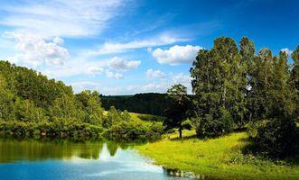 Фото бесплатно река, берег, деревья