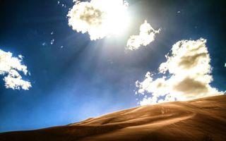 Фото бесплатно пустыня, дюны, барханы, песок, небо, облака, солнце