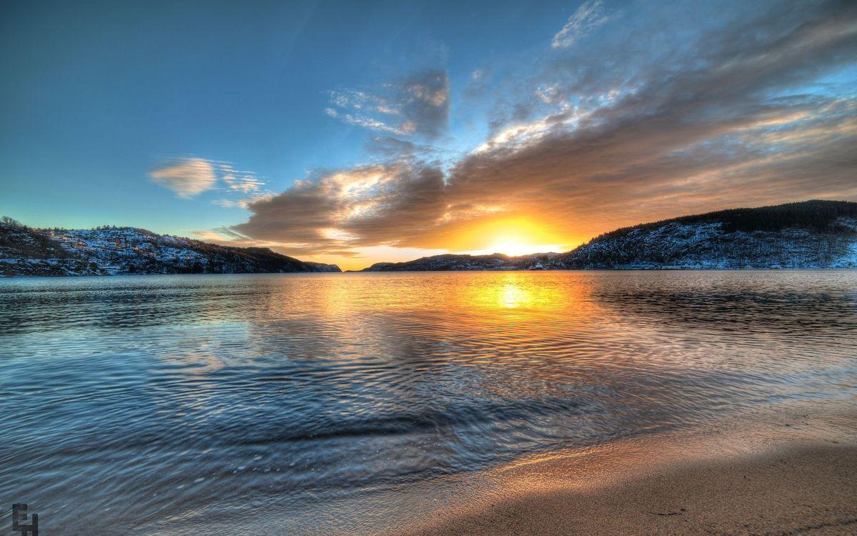 Фото бесплатно горы, солнце, берег - на рабочий стол