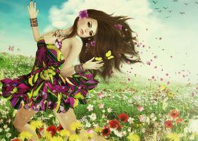 Бесплатные фото девушка,лето,поле,бабочки,цветы,art