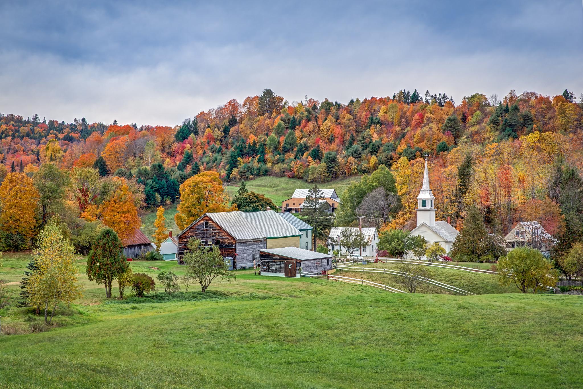 обои New England, Vermont поля, дома, деревья картинки фото