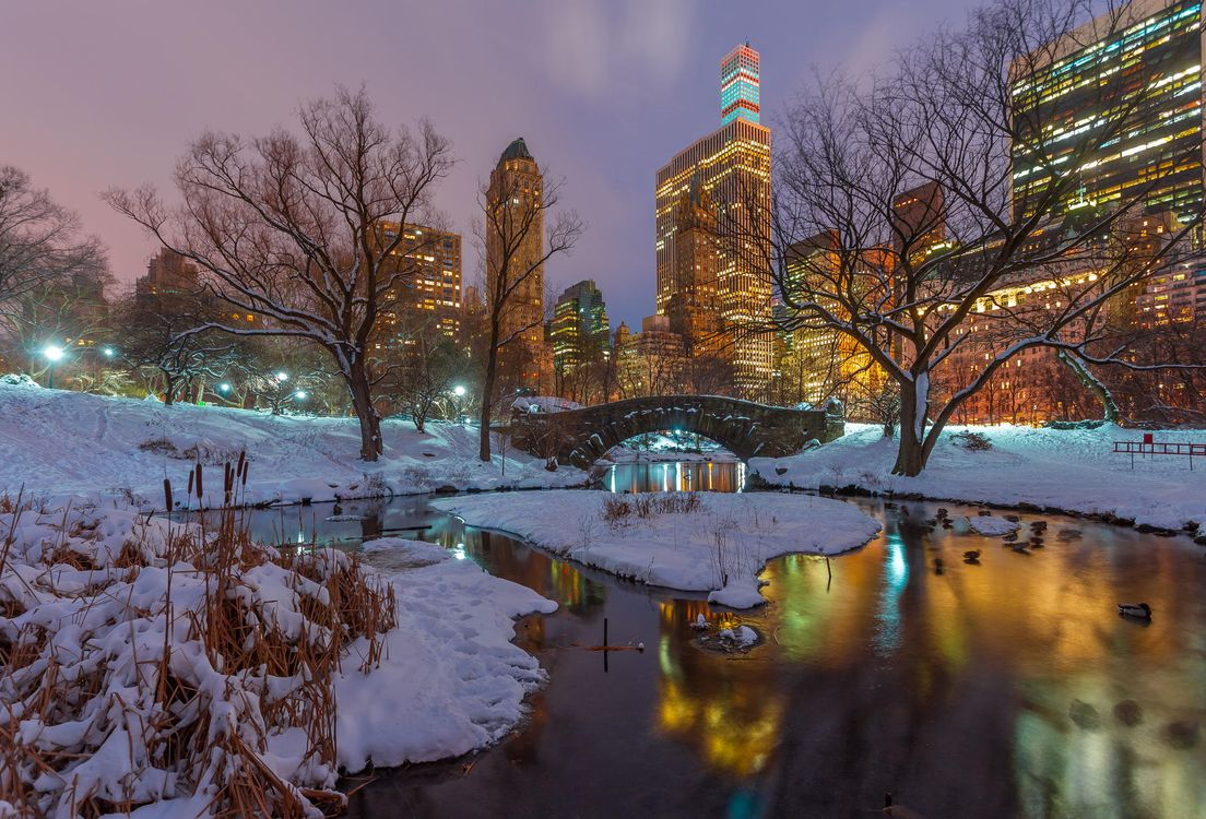 Фото бесплатно Центральный парк Нью-Йорк вечер, Gapstow Bridge - на рабочий стол