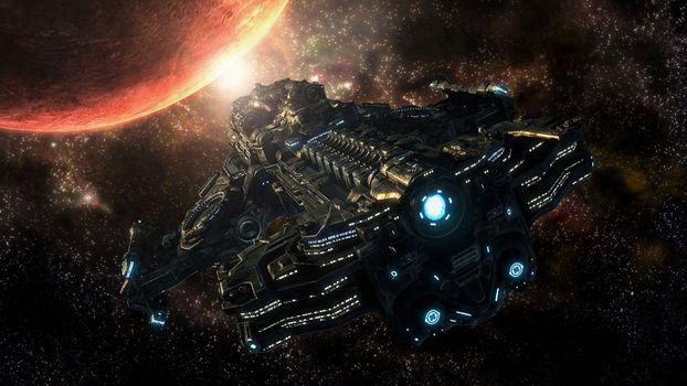 Фото бесплатно звездолет, планета, путь к новым открытиям
