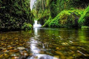 Бесплатные фото Oregon,Columbia Gorge,Ущелье реки Колумбия,Punch Bowl Falls,водопад