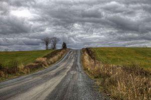 Заставки поле, дорога, тучи, пейзаж