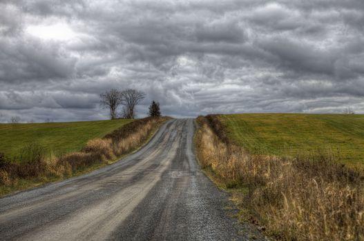 Фото бесплатно поле, дорога, тучи