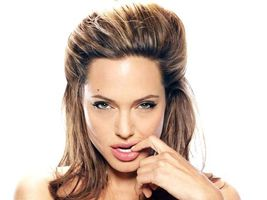 Фото бесплатно Портрет Анджелины Джоли, длинные волосы, актриса