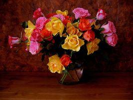 Фото бесплатно натюрморт, ваза, розы, букет, цветы, флора, красивый букет