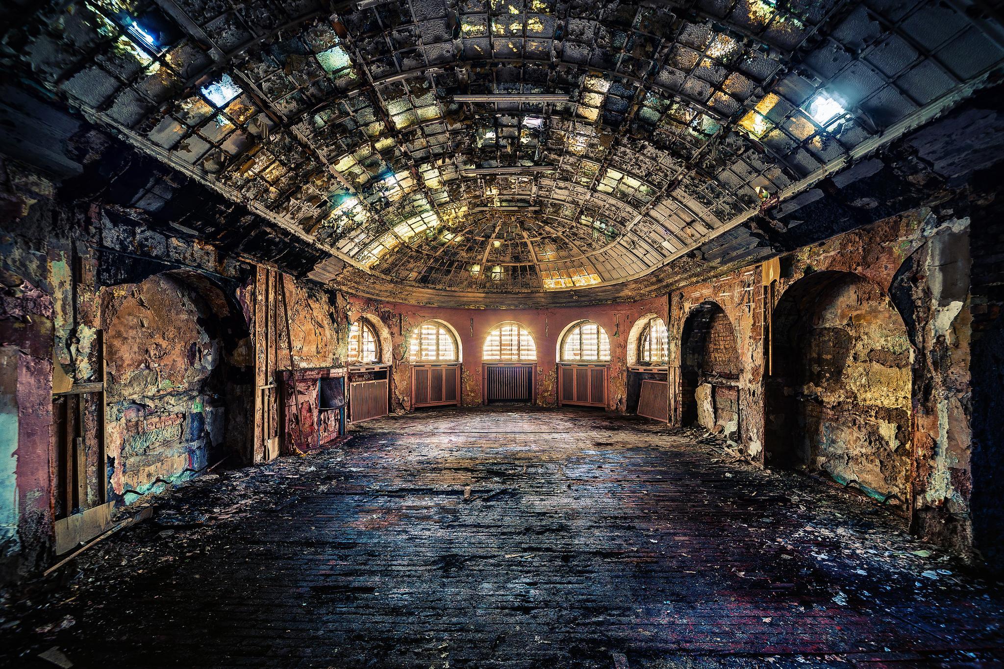 Обои интерьер, комната, зал, руины