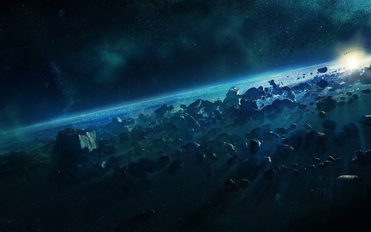 Фото бесплатно Астероидный пояс, метеориты, звезда, космос - скачать на рабочий стол