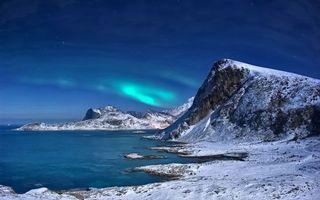 Бесплатные фото горы, снег, сияние, море