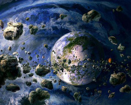 Фото бесплатно галактика, метеориты, звезды