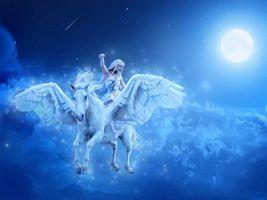 Обои девушка, конь, пегас, ночь, фантастика