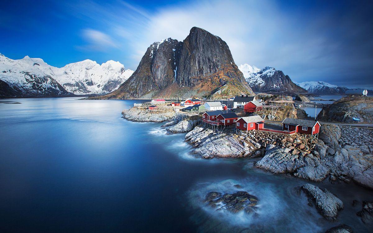 Фото бесплатно горы, поселок, дома, север, пейзажи