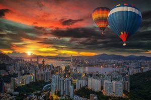 Заставки Пейзаж на воздушном шаре над Гонконгом, Гонконг, Китай, город, ночь, огни