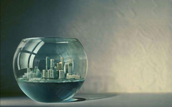 Фото бесплатно город в стеклянной чаше, стол
