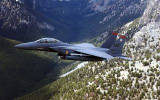 Photo free flight, mountains, fighter
