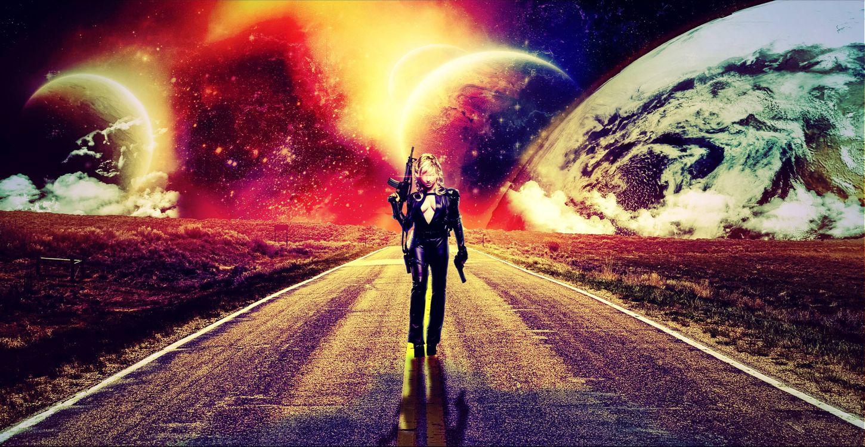 Фото бесплатно дорога, девушка, планеты, 3d, art, рендеринг