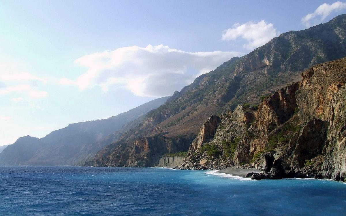 Фото бесплатно море, горы, скалы - на рабочий стол