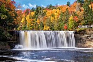 Бесплатные фото осень,лес,деревья,река,водопад,природа