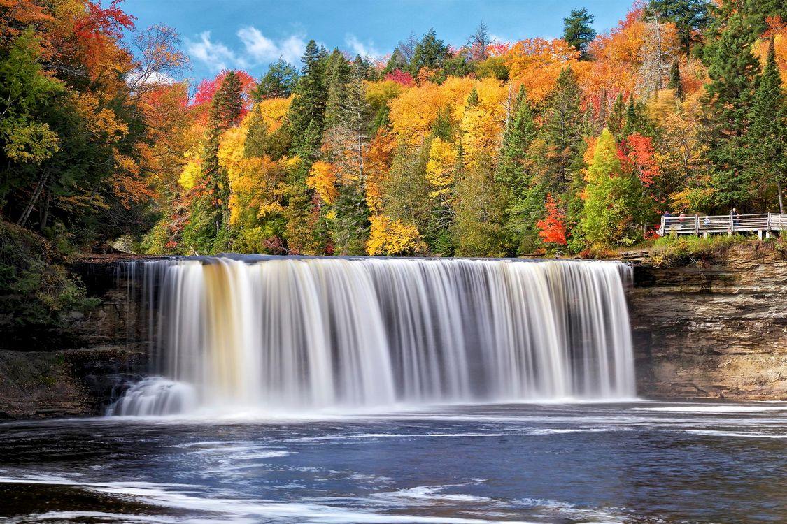 Фото бесплатно осень, лес, деревья, река, водопад, природа, природа
