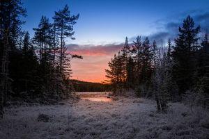 Заставки Sweden,Mangskog,Arvika,зима,мороз,закат,иней