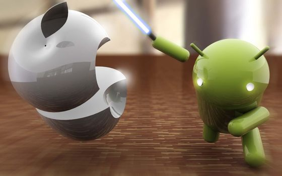 Photo free battle, Android vs Apple, logos