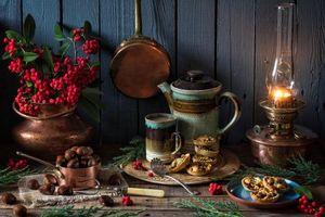 Фото бесплатно чайник, лампа, рябина