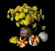 Бесплатные фото цветы,одуванчики,тыква,натюрморт