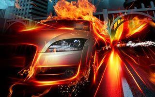 Бесплатные фото гонка,машина,ауди,скорость,огонь,мост