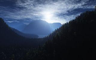 Бесплатные фото горы,деревья,лес,море,залив,небо,солнце