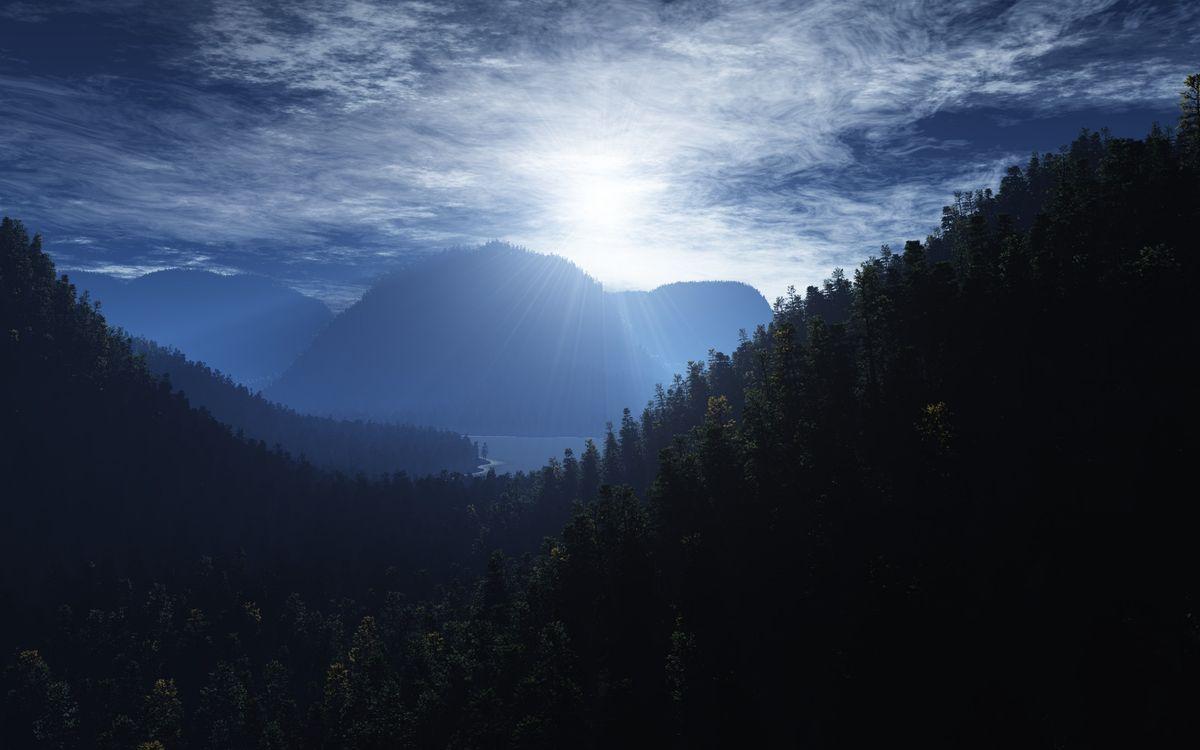 Фото бесплатно горы, деревья, лес, море, залив, небо, солнце, облака, пейзажи