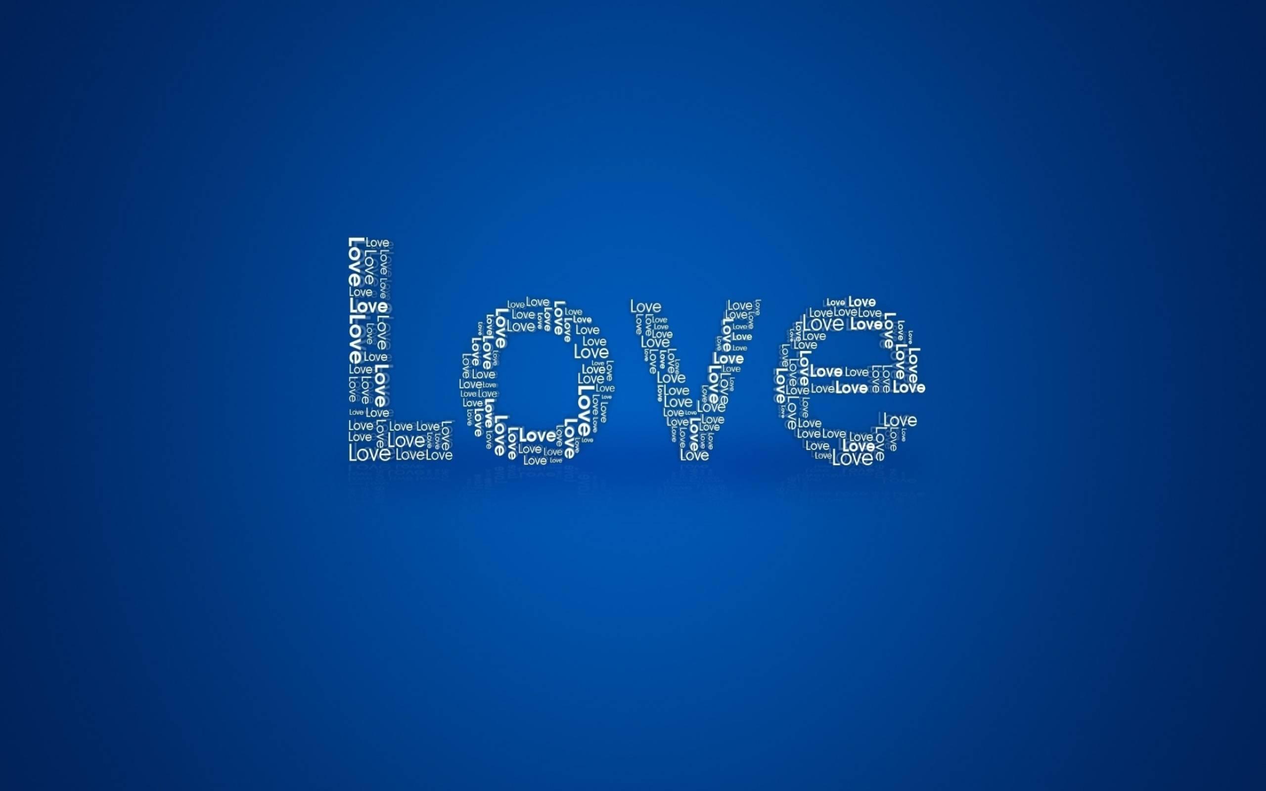 Обои love, надпись, на синем фоне