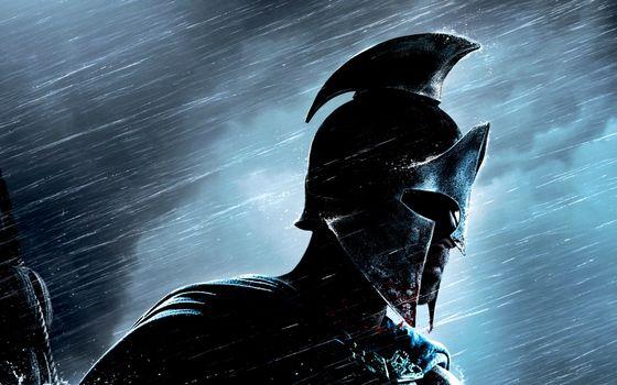 Заставки спартанец, шлем, дождь