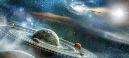 Бесплатные фото планеты,газовый гигант,кольца,спутники,звезды,галактика