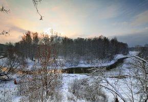 Бесплатные фото закат,зима,речка,Клязьма,Россия,лес,деревья