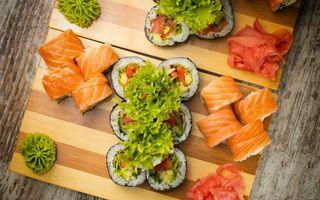 Заставки суши,роллы,стол,досточки