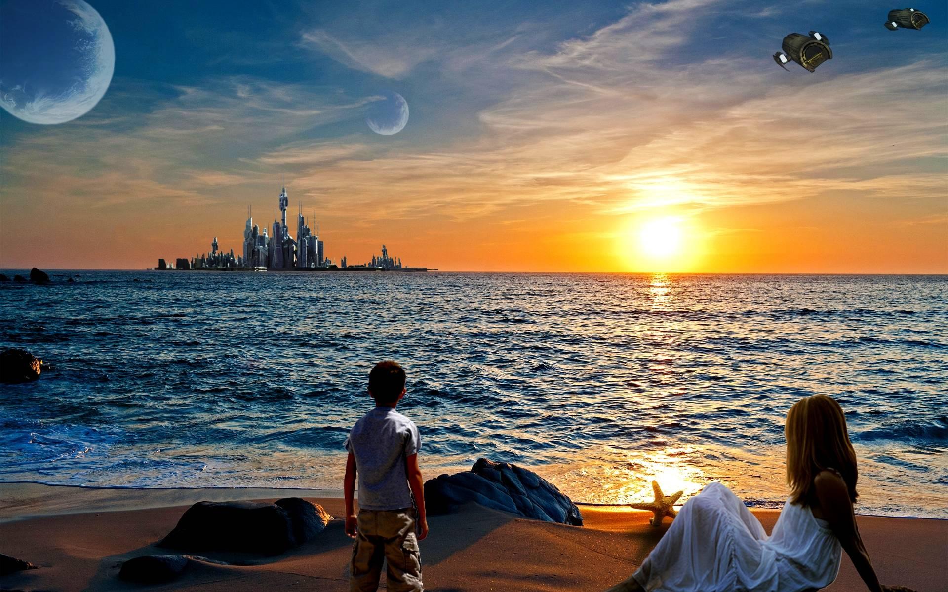 закат, берег, город
