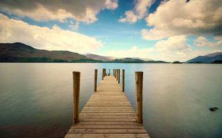 Фото бесплатно мостик, озеро, горы