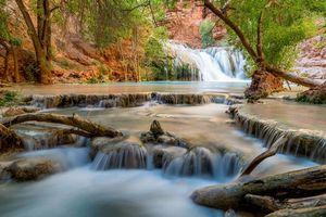 Бесплатные фото Beaver Falls,Grand Canyon,река,водопад,каскад,скалы,деревья