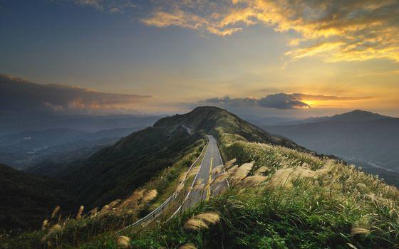 Фото бесплатно дорого через гору, трасса, асфальт