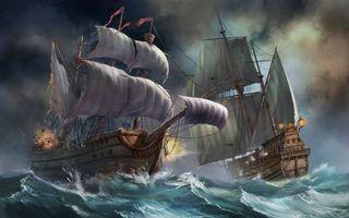 Бесплатные фото корабли,картина,рисунок,волны,парусники
