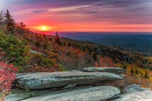 Заставки закат, горы, скалы, деревья, пейзаж