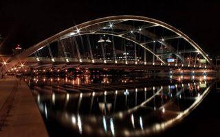 Бесплатные фото ночь, набережная, река, мост, конструкция, подсветка, дома
