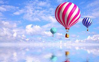 Фото бесплатно шары, воздухоплавательные, корзины, небо, облака, вода, отражение