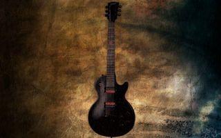 Обои гитара, электронная, черная, гриф, струны, колки