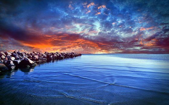 Фото бесплатно море, камни, насыпь