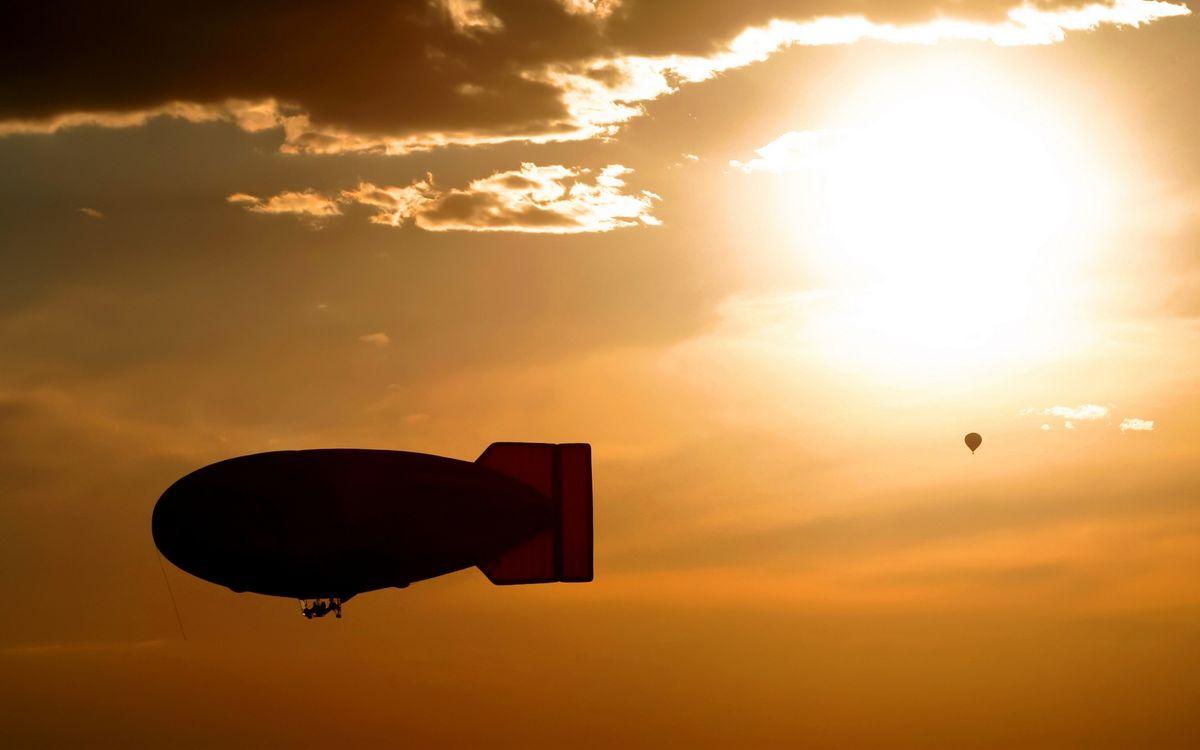 Фото бесплатно дирижабль, воздушный шар, закат - на рабочий стол