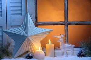 Фото бесплатно окно, свечи, Рождество